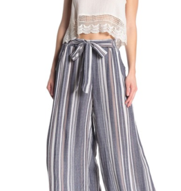 Angie Blue Striped Tie Waist Palazzo Pant