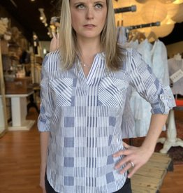 Skies Are Blue Mixed Stripe Button Down