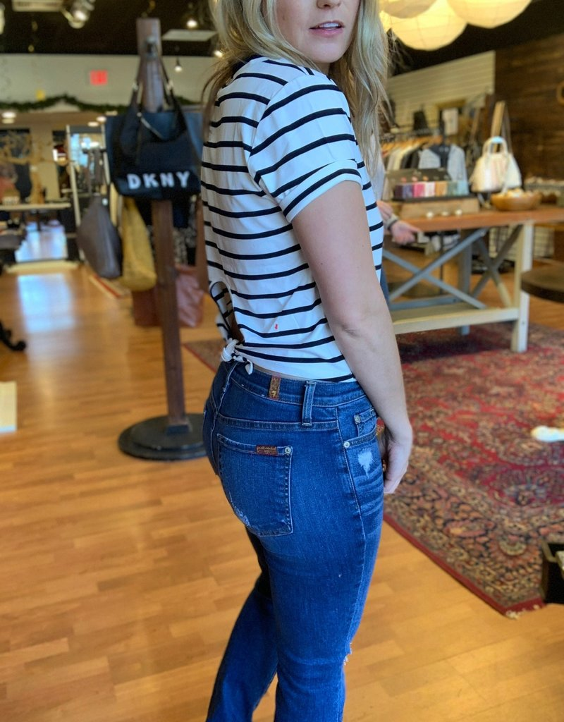 BB Dakota Striped Tie Back T-shirt