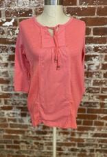 Neon Buddha 3/4 Sleeve Tie Front Top in Sherbet