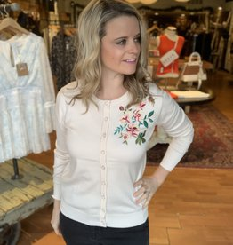 Estrna Jane Button Front Embroidered Cardigan