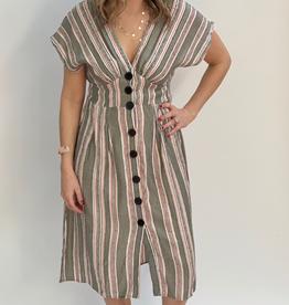 Angie Striped V-Neck Button Front Dress