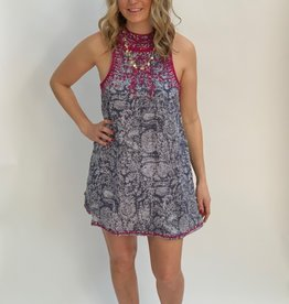Angie Patterned Dress with Pink Embroidery Detail