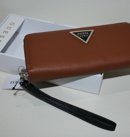 GUESS GUESS Lauri Zip-Around Wristlet Brown