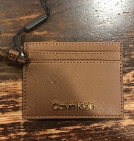 Calvin Klein Calvin Klein Saffiano Leather Card Case Tan