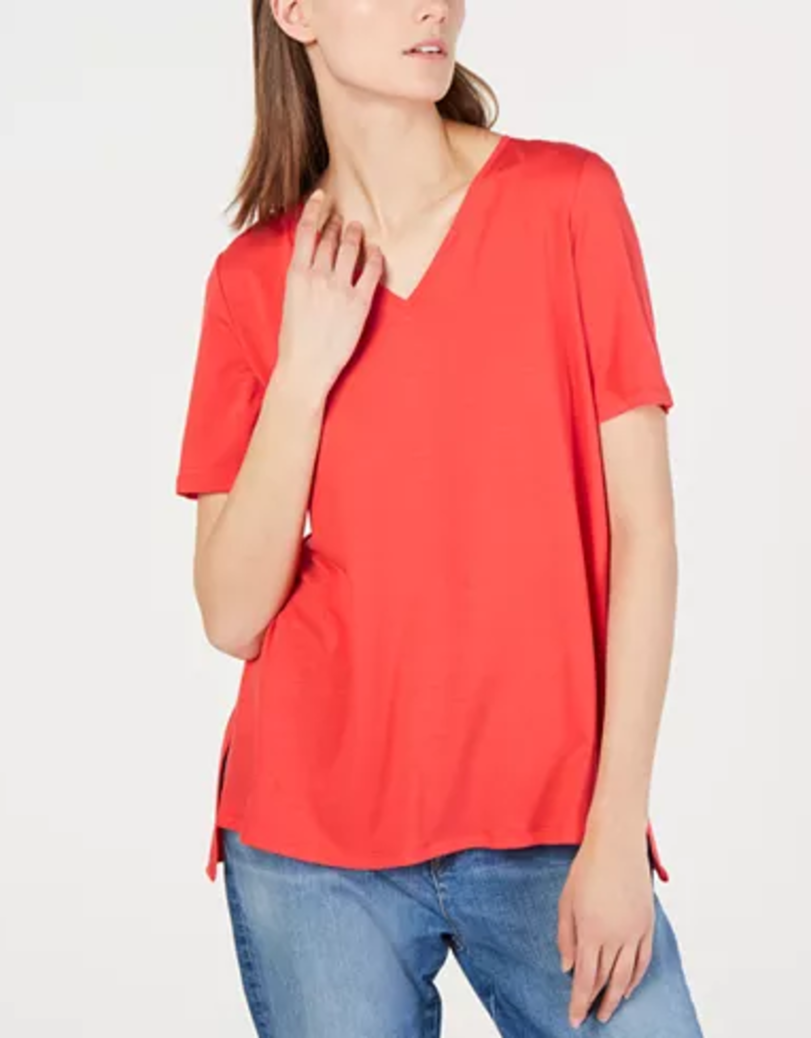 Eileen Fisher Eileen Fisher Hi-Lo V-Neck Tencel T-Shirt Sz XS