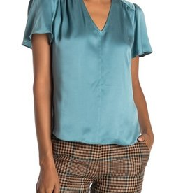 Rebecca Taylor Rebecca Taylor Light Teal Charmeuse Silk S/S Top Sz 4