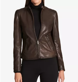 DKNY DKNY Brown Petite Leather Jacket Sz PS