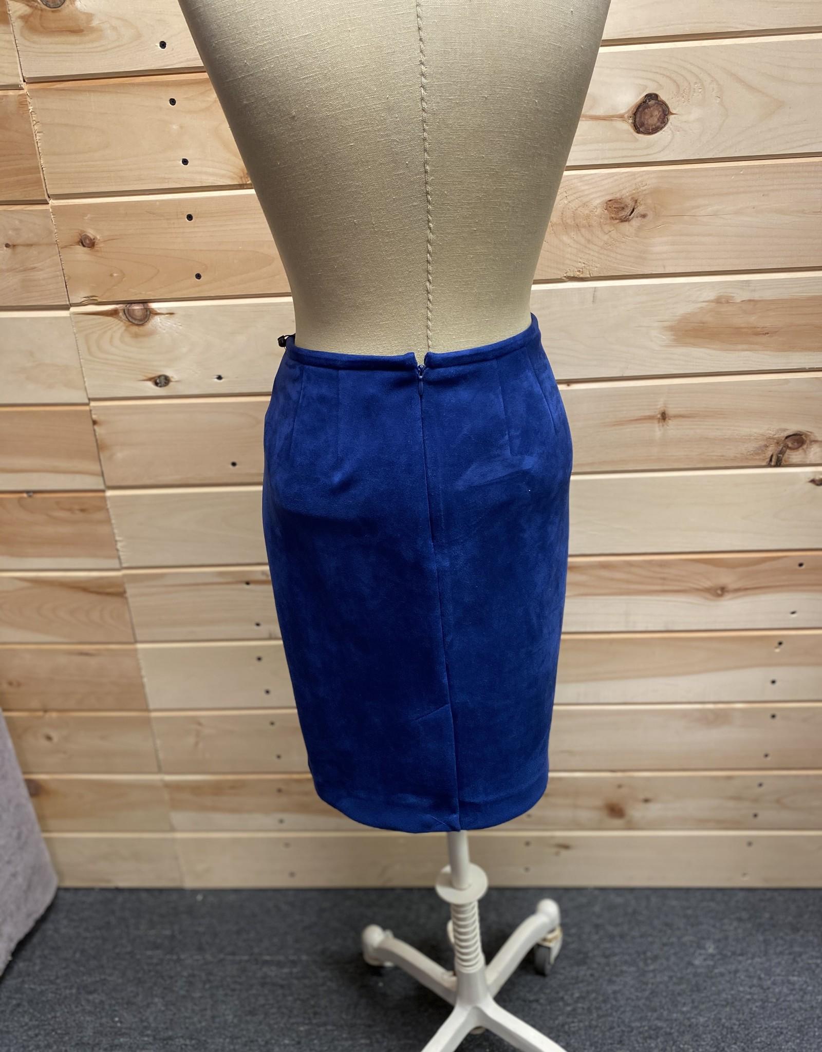 Calvin Klein Calvin Klein Blue Faux-Suede Pencil Skirt Sz 8P