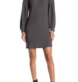 Everly Everly Ribbed Knit Balloon Sleeve Dress Sz L