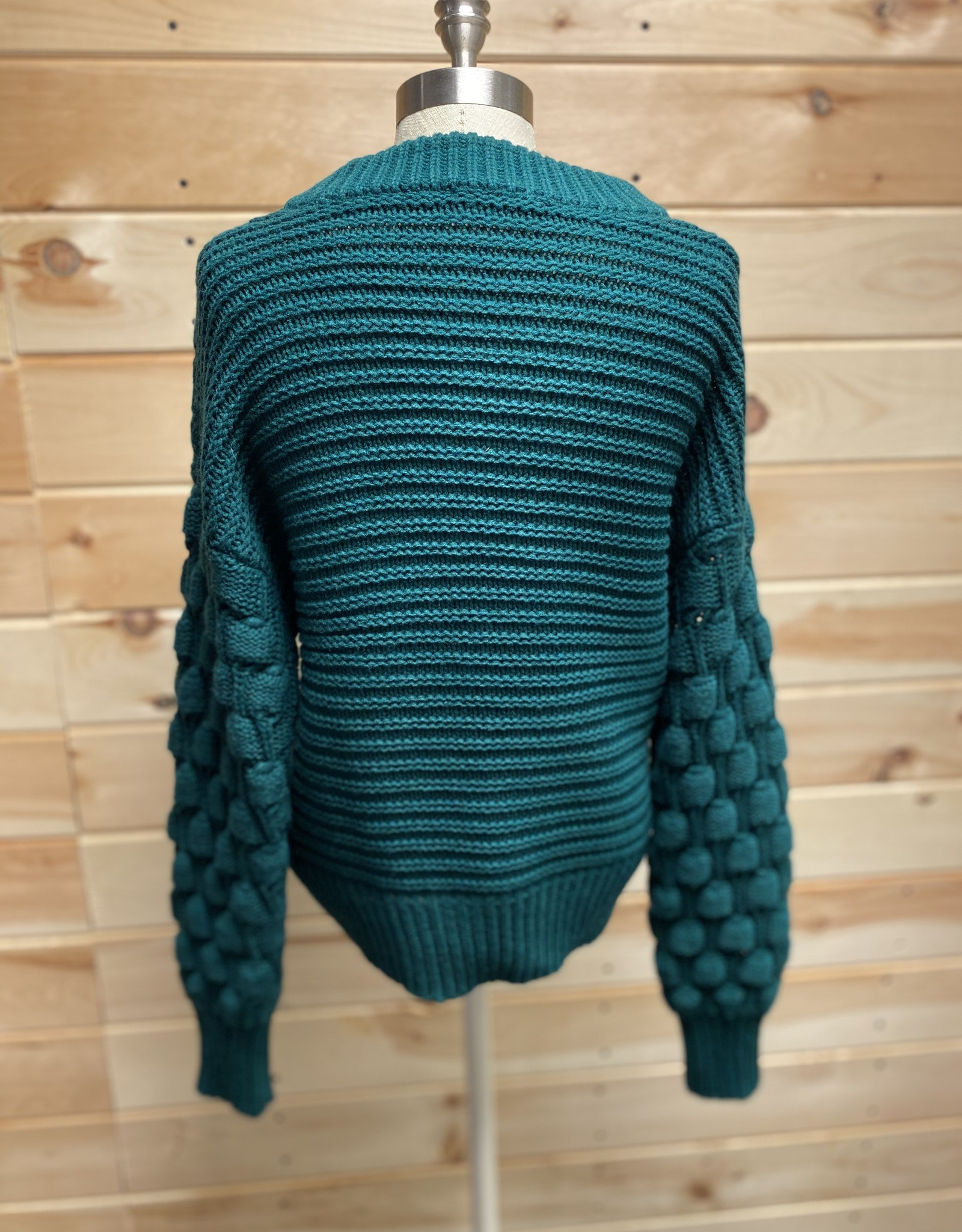 Elodie Elodie Bubble Sleeve Pullover Sweater Emerald Sz S