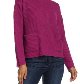Melloday Melloday Berry Crew Neck Two Pocket Sweater Sz S