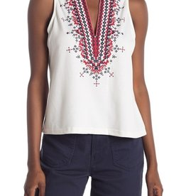 Melloday Sleeveless Embroidered V Neck Top Size XL
