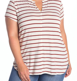 H by Bordeaux H By Bordeaux Split Neck Striped T-Shirt Sz 2x