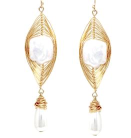 Blue Suede Jewels Wire Wrapped Freshwater Pearl Drop Earrings