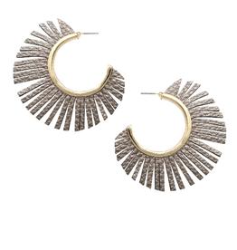 Blue Suede Jewels Faux leather Fringe Hoop Earrings