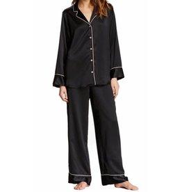 Natori Pink Black Piped Collared Women's Sleepshirt Size L