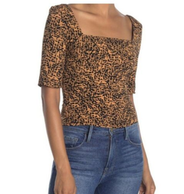 Free Press Free Press Womens Animal Print Square Neck 1/2 Sleeve Top Size S