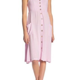 Good Luck Gem Good Luck Gem Linen Midi Dress Button Front Baby Pink Size L
