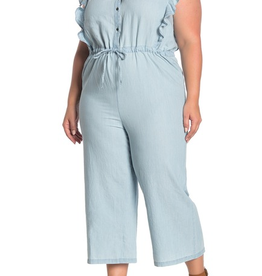 Susina Susina Flutter Sleeve Chambray Jumpsuit  Size 3x