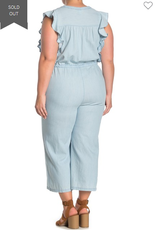 Susina Susina Flutter Sleeve Chambray Jumpsuit  Size 3x