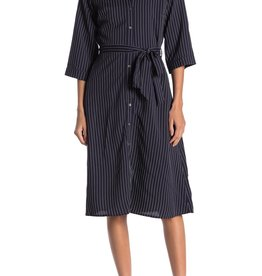 Everly Everly Tie Waist Button Stripe Dress Sz S