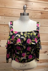 Milly PM Milly Calla Lily Cold Shoulder Silk Blouse Size 8 #440E