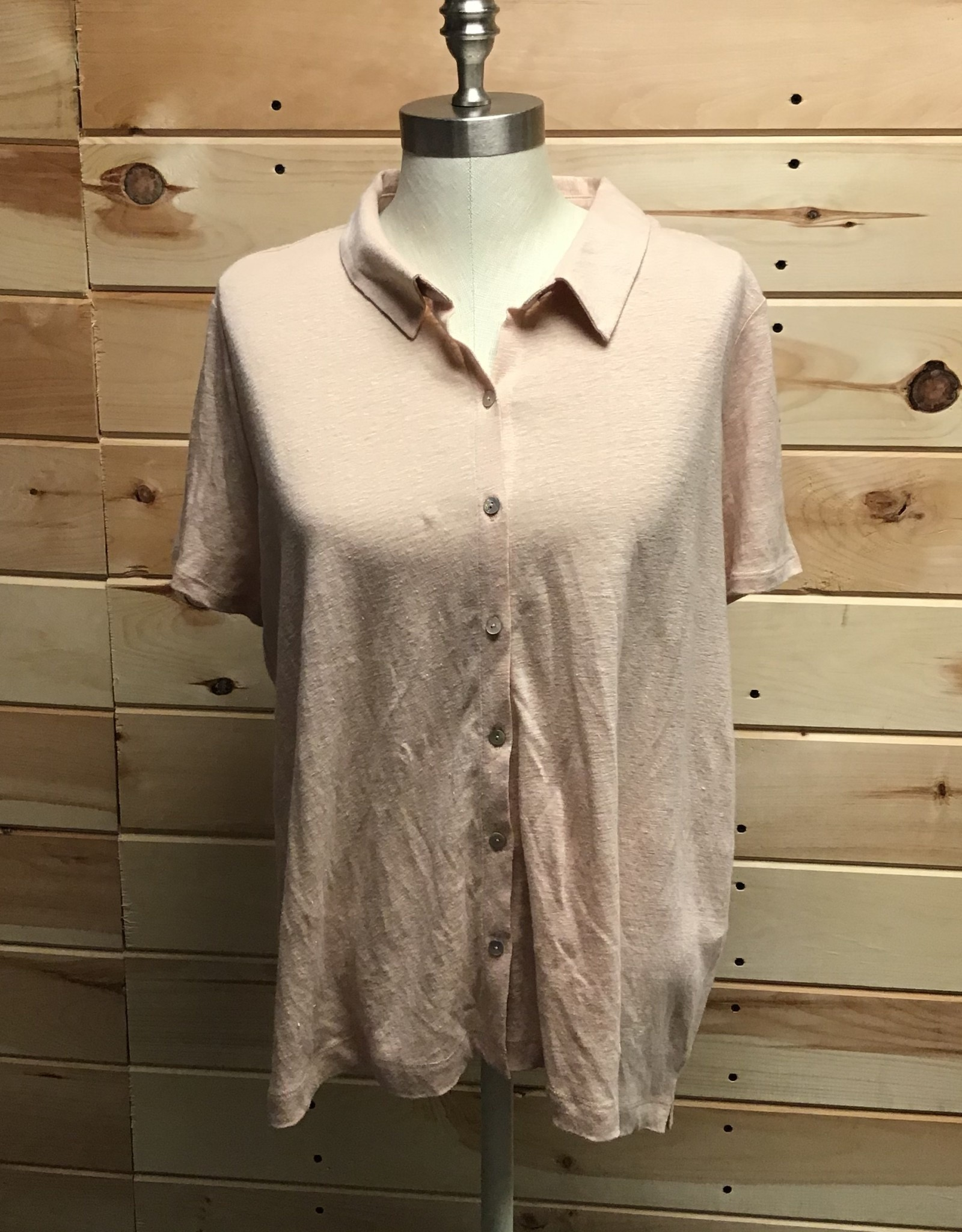 Eileen Fisher Eileen Fisher S/S Linen Button Up Top Beige Sz L