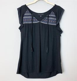SANCTUARY SANCTUARY Black Boho Embroidered Short Sleeve Top Size 1X
