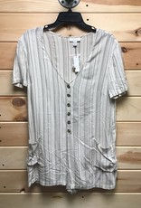 Topshop Topshop Stripe Button Front Cover Up Romper Sz M