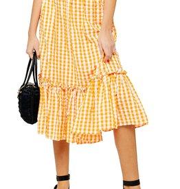 Topshop Topshop Gingham Ruffle Midi Skirt Sz 2