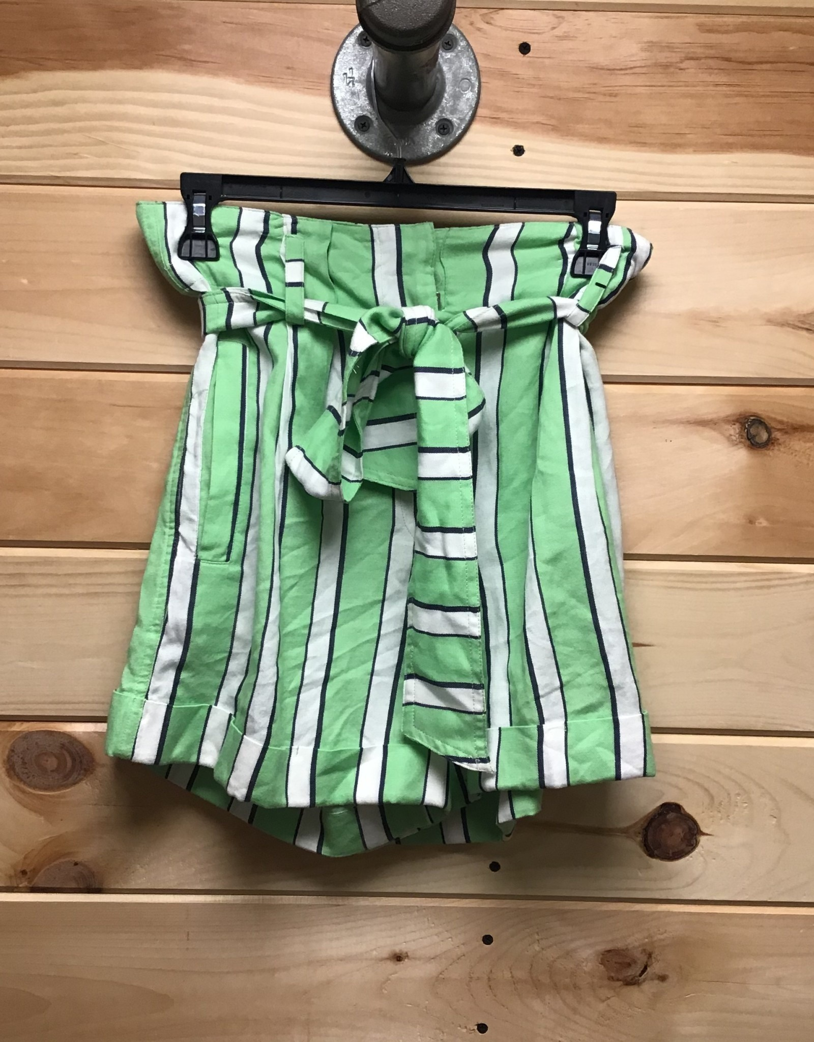 Topshop Topshop Tie Waist Stripe Cotton Shorts Sz 8