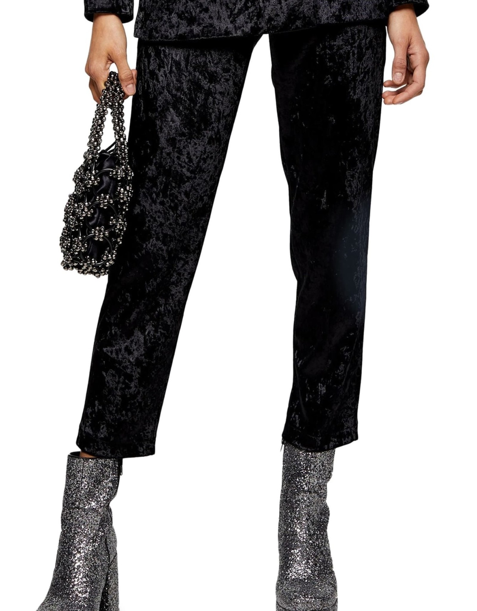Topshop Topshop Bonded Velvet Trousers Sz 6