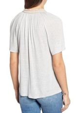Lucky Brand Lucky Brand Embroidered Peasant Top Size L