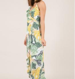 Molly Bracken Asymmetric Ruffle Print Dress