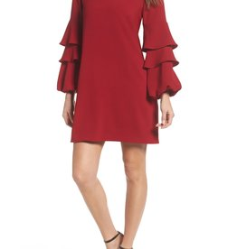 Charles Henry Charles Henry Tiered Ruffle Sleeve Shift Dress Size M