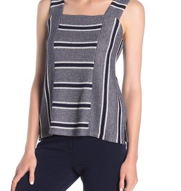 Vince Camuto Vince Camuto Striped Knit Sleeveless Square Neck Top Sz S