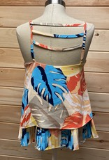 Laundry Laundry by Shelli Segal Tropical Leaf Ladder Pleated Tank Top Size S