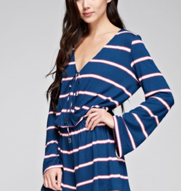 Love Stitch Long Sleeve Wrap Romper