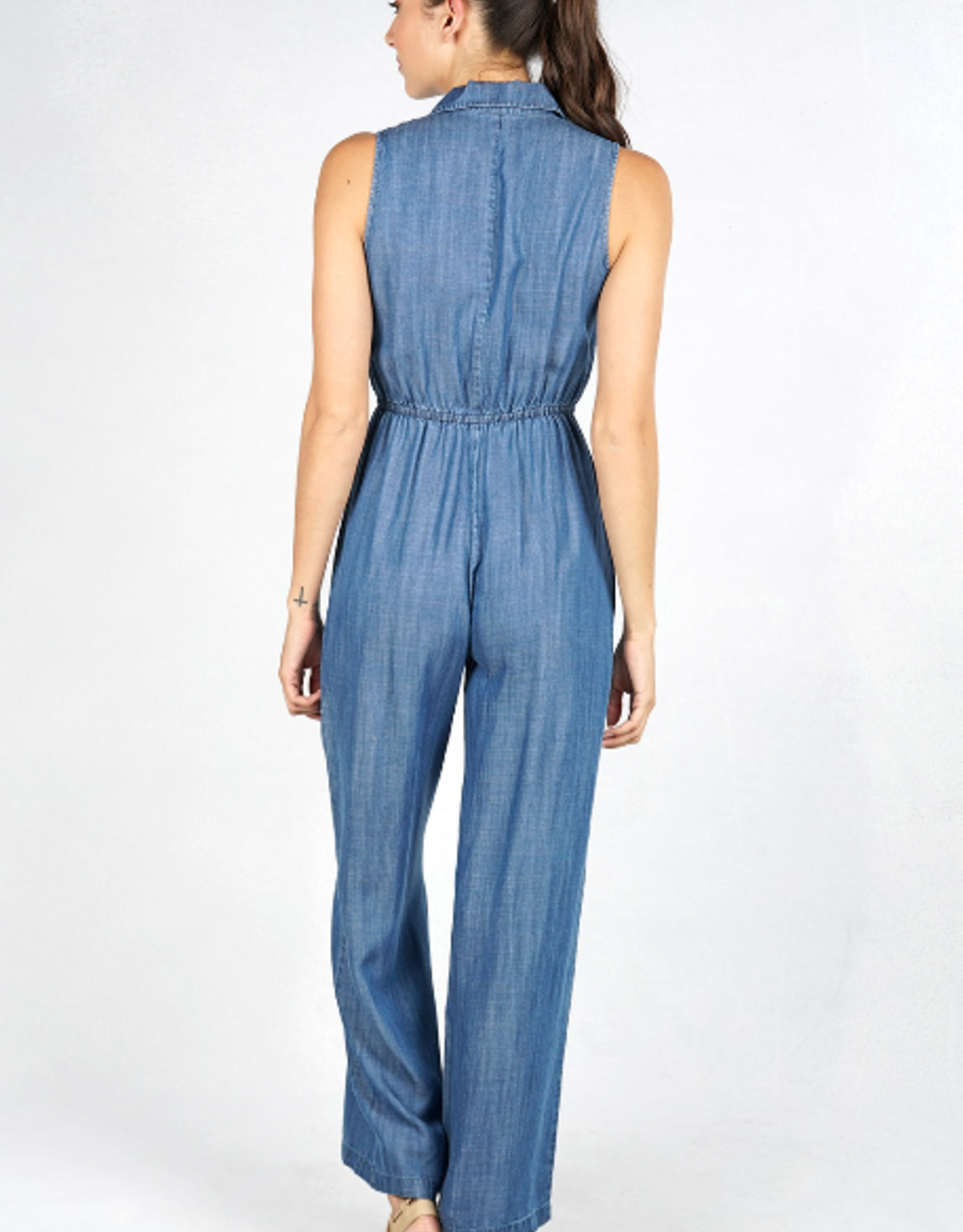 Love Stitch Patch Pocket Wide Leg Overall