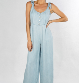 Love Stitch Button Front Wide Leg Jumpsuit