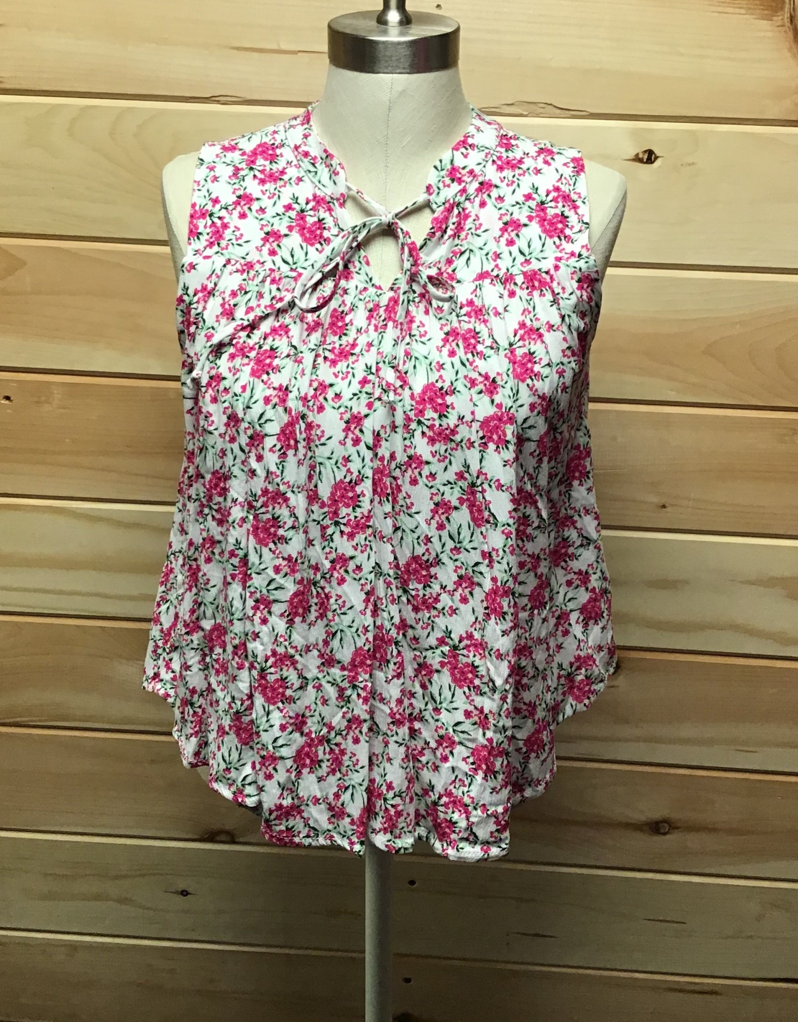 Gibson Gibson Tie Neck Floral Tank Top Sz XS