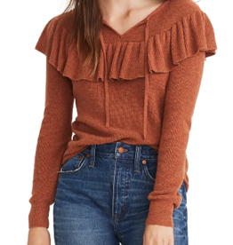 Madewell Madewell Ruffled Tie Front Pullover Sweater Size S