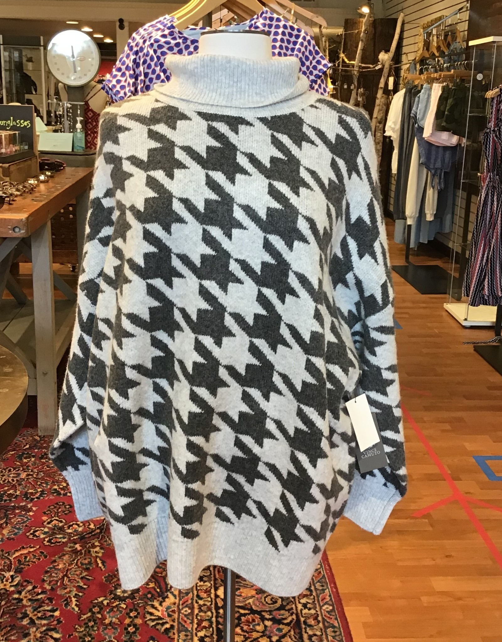 Vince Camuto Vince Camuto Cozy Houndstooth Print Turtleneck Sweater Sz 3X