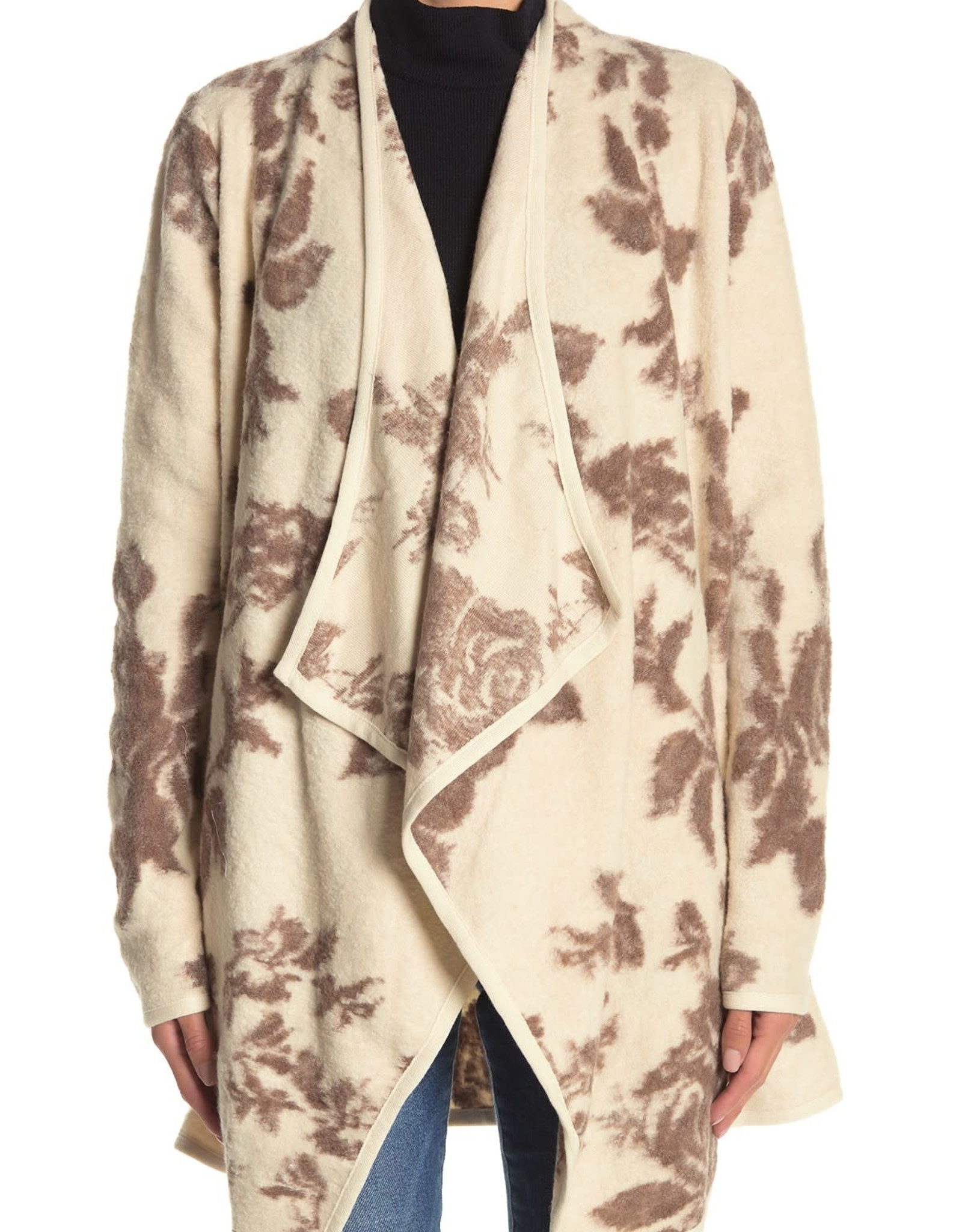 Lucky Brand Lucky Brand Floral Print Drape Cardigan Sz M