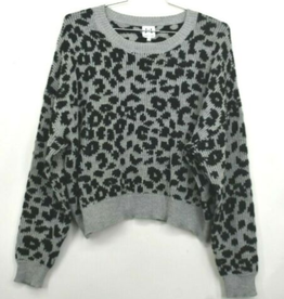 John+Jenn J&J Womens Dolman Sleeve Leopard Print Long Sleeve Sweater Size XL
