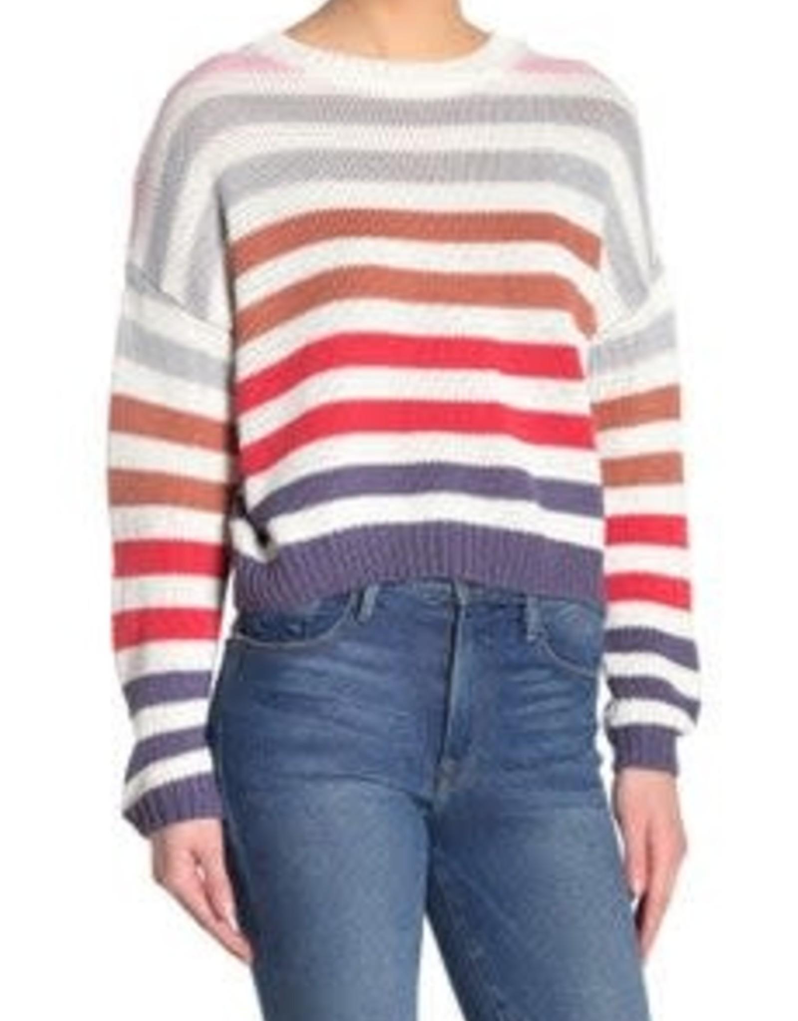 John+Jenn John+Jenn double Stripe V-Neck Sweater