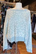 John + Jenn John & Jenn Womens Dolman Sleeve Leopard Print Long Sleeve Sweater