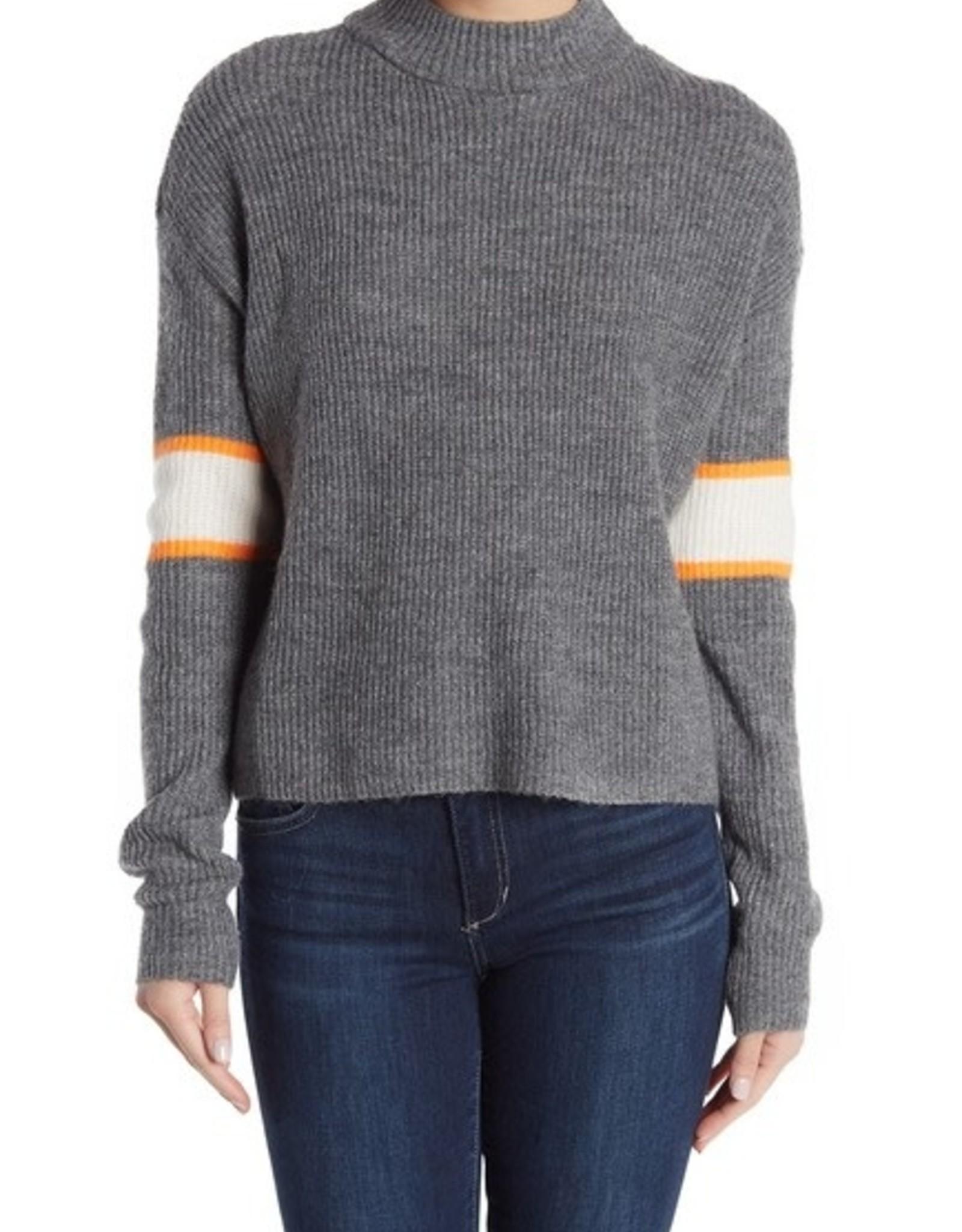 John+Jenn John & Jenn Varsity Stripe Mock Neck Pullover Sweater Size XL