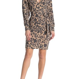 Bailey Blue Bailey Blue Leopard Cozy Faux Wrap Dress Sz M